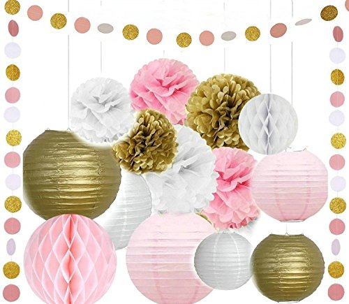 Since Pack of 16 8''(20cm) Gold Pink White Paper Crafts Tissue Paper Honeycomb Balls Lanterns Paper Pom Poms Birthday Wedding Party Decoration