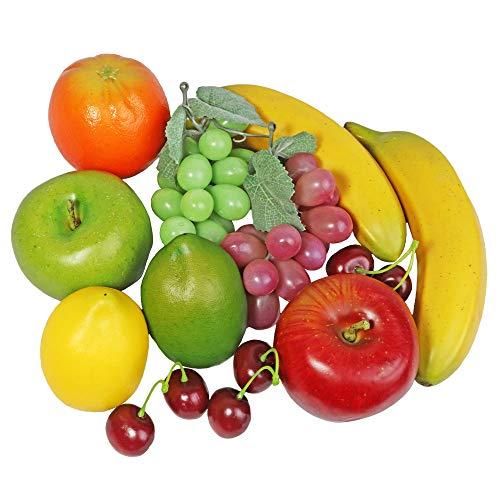 Fake Fruit Artificial Realistic Lifelike Decorative Foam Fruits & Vegetables for Hand Made Home, Kitchen, Party Decor (12pcs Assorted Fruit Mix Apples, Lemons, Oranges, Bananas, Grapes, Cherries)
