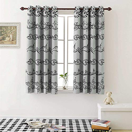 shenglv Henna Customized Curtains Fantasy Spring Blossoms Abstract Display Traditional Borders Collection Monochrome Curtains for Kitchen Windows W63 x L45 Inch Black White