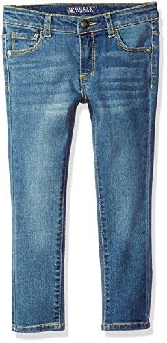 GUESS Little Girls' Skinny Power Stretch Denim 5 Pocket Jean, Luke Wash, 2 (By Guess Jeans)