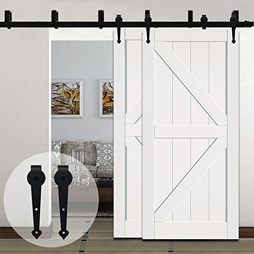New Arrival 8FT Arrow Bypass Style Sliding Barn Wooden Door Track Hardware System New Style U-Bracket New Design Double Door Suspension Mode - New Arrivals Farmhouse