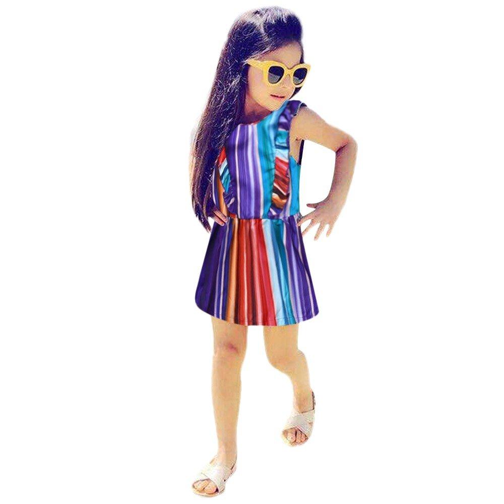 pengchengxinmiao Mini Summer Tank Dress for Newborn Toddler Baby Girls Party Beach Sundress Striped Print Ruffle Sleeveless Outfits (Multicolor, 80)