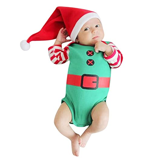 7ebe135c11d Pumsun ❤ Infant Baby Girls Boys Long Sleeve Striped Christmas Jumpsuit  Romper Hat Outfit (
