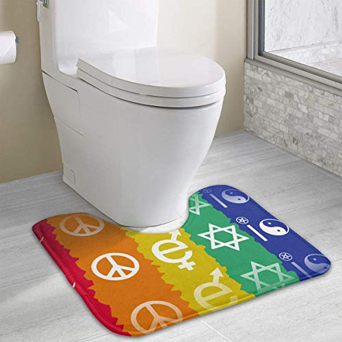 Beauregar Gay Pride Funny Bath Mat Toilet Carpet Doormats Floor Rugs for Bathroom Toilet 19.2″x15.7″