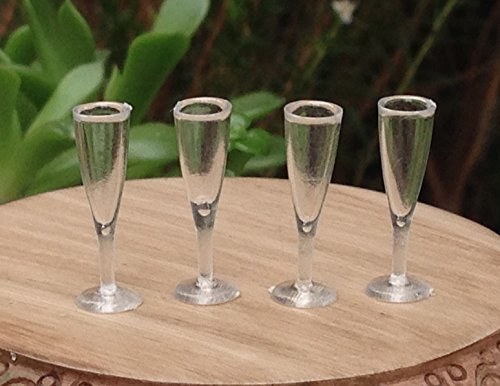 Miniature Dollhouse Fairy Garden Accessories 4 Plastic Champagne Glass Flutes