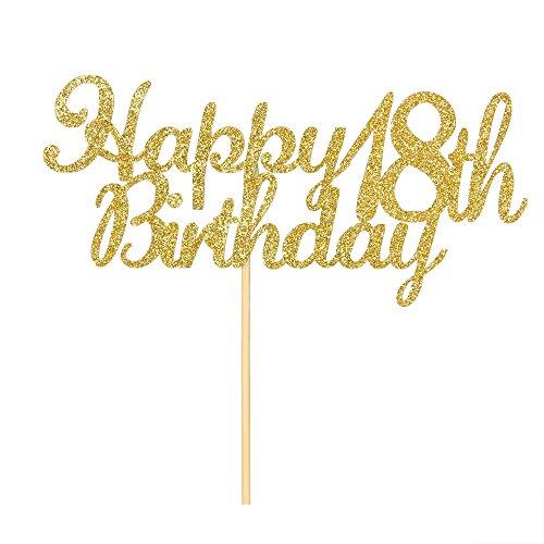 Happy 18th Birthday Cake Topper, Gold Glitter Hello 18th Birthday,Anniversary Party Decoration