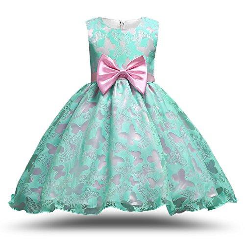 MCERMR Little Girls Dress Butterflies Printed Princess Dress Lovely Tutu Dress Green