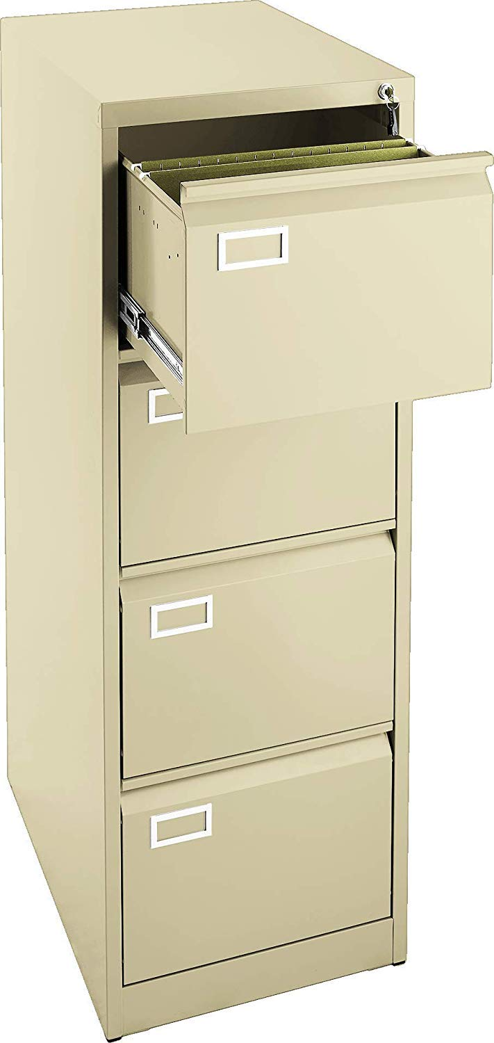 New 4 Drawer Locking Metal Filing Cabinet, Fits Letter & Legal Files, Great for Office (Beige) - UNASSEMBLED