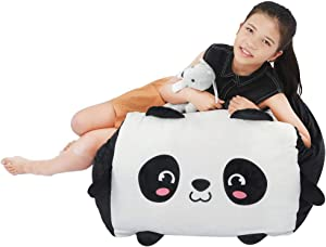 Panda Stuffed Animal Bean Bag Chair Cover Toy Storage Large Size 24x24 Inch Velvet Extra Soft Plush Organization for Kids Toys Blankets Towels Clothes Household Supplies