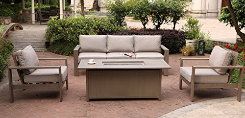 Marativa 4 Piece Deep Seating Set,30x61 Chat High Gas Firepit Table (Deep Seating Fire Pit Table)