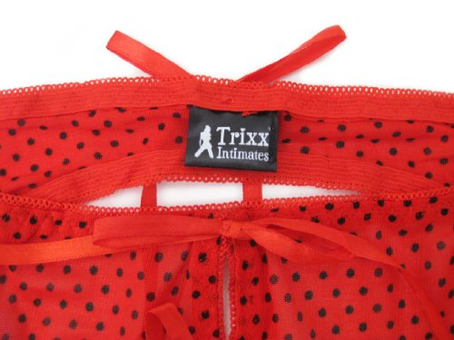 Trixx Intimates Women's Open Rear Crotchless Panty With Straps Red