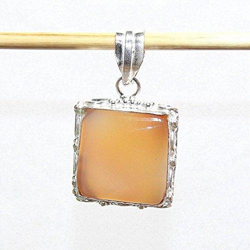 Agate Silver Orange (Orange Jelly Agate Square Silver Overlay Pendant Fashion Jewellery Designer Fancy Jewelry 1.70 Inches)
