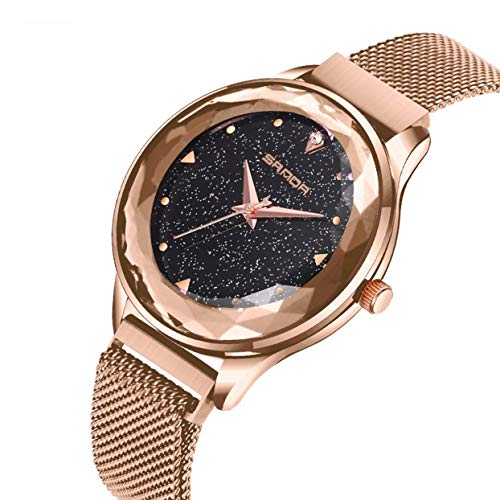 Dial Round Shining (Fashion Shining Round Dial Luxury Woman Girls Wrist Watch Quartz Movement Water Resistant Casual Watch Steel Wristband)