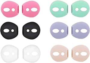 JNSA Fit in Case Airpods Tips Ear Skins AirPods Covers Compatible with AirPods 2 / AirPods 1 / EarPods, Ultra-Thin Anti-Slip Earbuds Silicone AirPods Ear Tips,6 Pairs 6 Colors