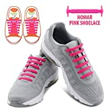 Shoes Best Deals - Homar No Tie Shoelaces in 13 Colors for kids - Best in Sports Fan Shoelaces - Elastic Shoe Laces Turn Your Shoes into Slip-on Perfect for Sneaker Boots Oxford Running Shoes - Pink