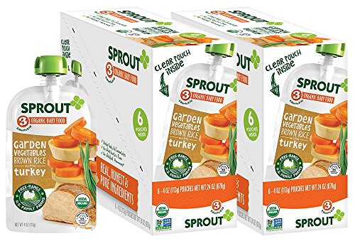 Foods Rice Protein - Sprout Organic Baby Food Pouches Stage 3 Sprout Baby Food, Garden Vegetables Brown Rice with Turkey, 4 Ounce (Pack of 12); USDA Organic, Non-GMO, 3 Grams of Protein, Free Range Turkey