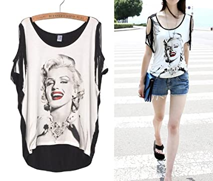 f76ee502866 Amazon.com   Fashion Ladies Summer Marilyn Monroe Print Tassel Short Sleeve  T Shirt Women Plus Size Tops Casual Loose Clothes - White Black   Sports    ...