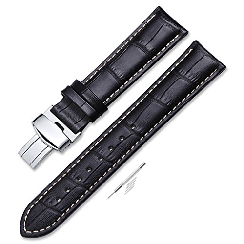 Black Croco Leather (iStrap 22mm Calf Leather Strap Croco Grain Replacement Watch Band for Men With Steel Buckle Black)