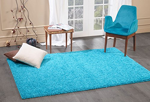 A2Z Rug Cozy Shaggy Collection 5x8-Feet Solid Area Rug - Turquoise (Furniture Outdoor Designer Luxury)
