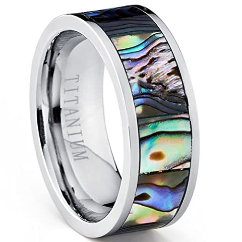 Pipe Cut Titanium Ring Band With Rainbow Rippled Abalone Inlay, Comfort Fit 8mm Size 11 (Abalone Inlay Band Ring)