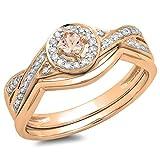 10K Rose Gold Round Morganite & White Diamond Ladies Bridal Halo Split Shank Engagement Ring Set