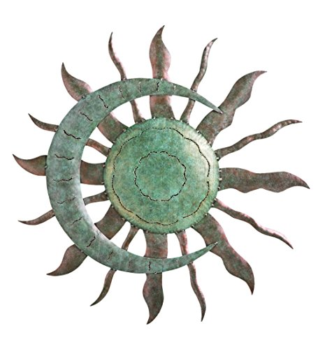 "Indoor Outdoor Recycled Metal Celestial Moon and Sun Wall Art Sculpture, 28"" Diameter x 1.25"" D"
