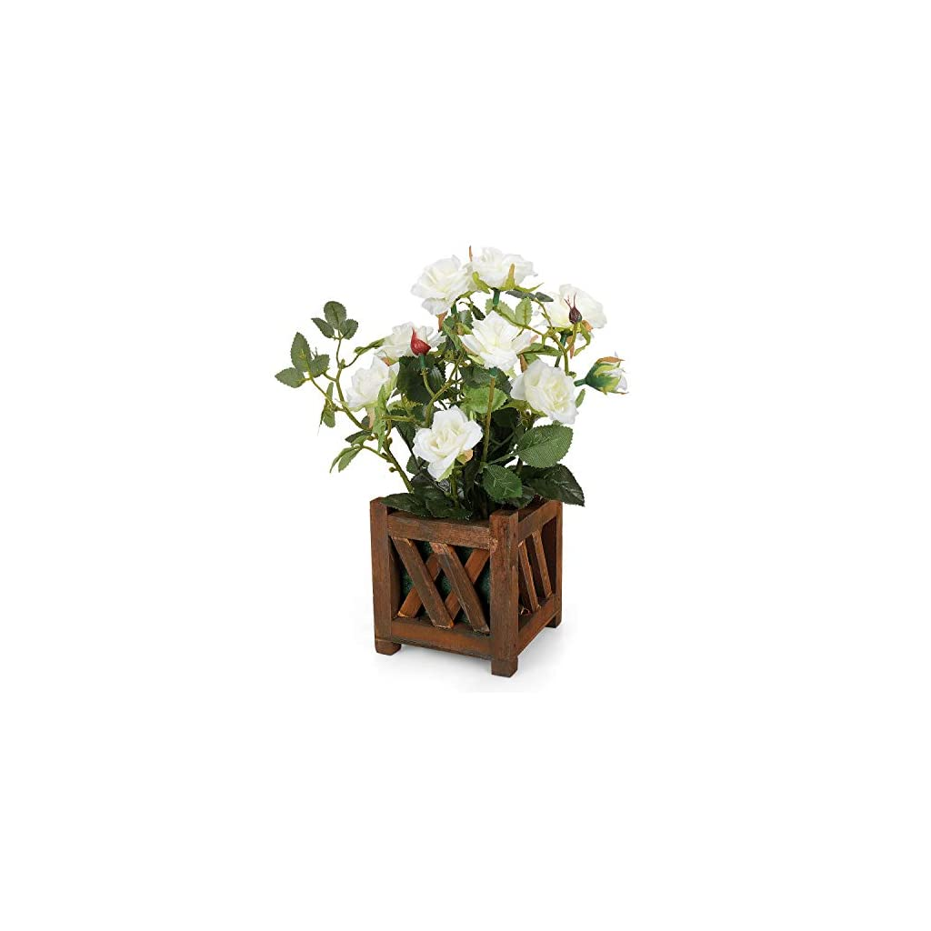Rerxn Artificial Potted Rose Pastral Style Fake Flowers Silk Flowers