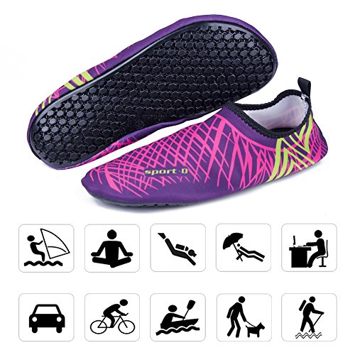 WONZOM FASHION Männer Frauen Paar Multifunktionale Haut Schuhe Leichte Barfuß Sneaker Quick-Dry Wasser Sportschuhe für Beach Pool Rosa