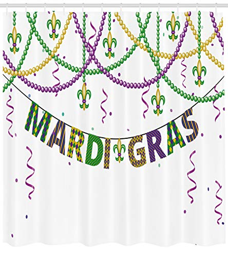 Mardis Gras Curtain - Ambesonne Mardi Gras Shower Curtain, Festive Decorations with Fleur De Lis Icons Hanging from Colorful Beads, Fabric Bathroom Decor Set with Hooks, 70 inches, Purple Green Yellow