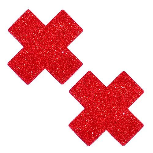 Neva Nude Ravish Me Red Glitter X Factor Nipztix Pasties Nipple Covers