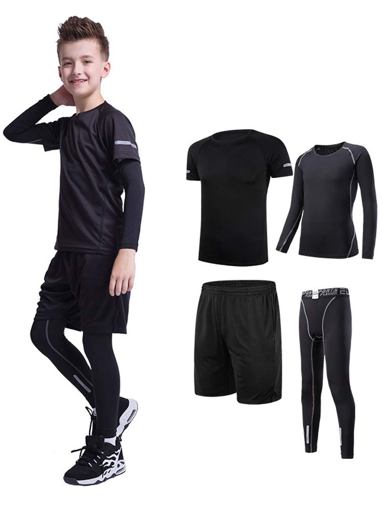 Mallimoda Boys Athletic Base Layer Compression Set 4 Pcs Running Tights Leggings Black 4-5 Years