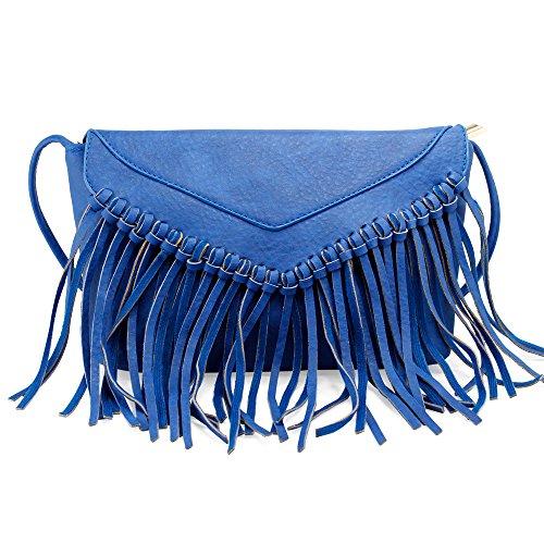 Women Cute Owl Pattern Small Shoulder Bag Blue Faux Leather Cross Body Bag - 7