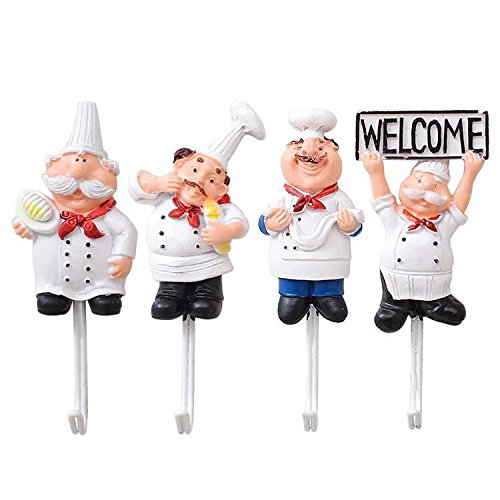 Astra Gourmet Pack of 4 Resin French Chef Figurine Wall Hooks Decorative Cook Wall Mount Rack Hook Hanger(Assorted Style)