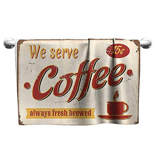 DUCKIL Sports Towel 1950s Decor Retro Style Tin Rusty Faded Fresh Brewed Coffee Print from Old Days Fifties Art Work Modern Bath Sheet 20 x 20 inch Cream Red -
