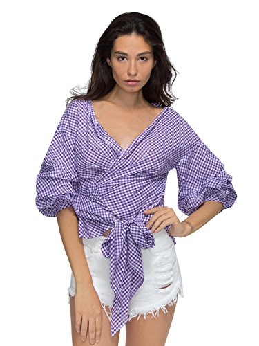 Choies Women Purple Plaid Wrap Front Ruffle Bell Sleeve Bow-Waist Tie Vintage Blouse Top S (Plaid Shirt Front Ruffle)