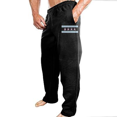 TERTR4E4 Men's Casual Fashion Jogger Sports Sweatpants Elastic Waist Chicago Flag Breast Cancer Awareness Sweatpants