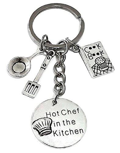 Chef Keychain, Chef Key Ring, Chef Charm Keychain, Cook Book Keychain, Spatula Keychain Gift for Chef, Frying pan Keychain