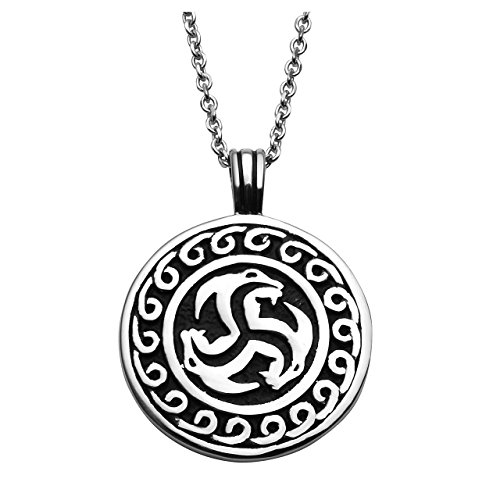 Jovivi Punk Stainless Steel Celtic Welsh Dragon Triskele Triple Spiral Triskelion Round Charm Amulet Pendant Necklace,Silver Black