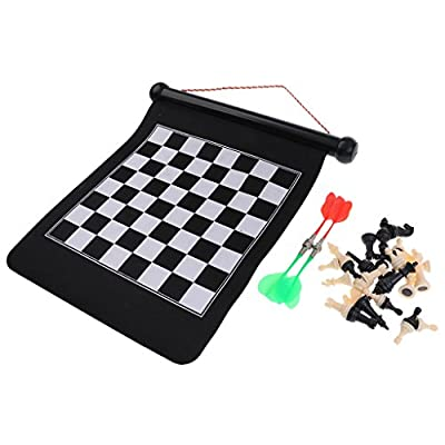 MonkeyJack Magnetic Chess Set 2 in 1 Safe Dart Board Wall Hung Roll-Up Games for Family 35.5x27.5cm