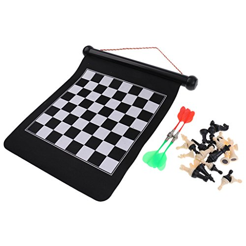 2 Darts Magnetic - MonkeyJack Magnetic Chess Set 2 in 1 Safe Dart Board Wall Hung Roll-Up Games for Family 39x31cm