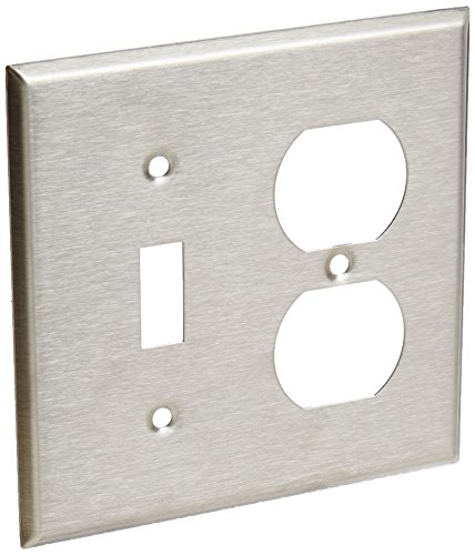 Morris 83420 430 Wall Plate, 2 Gang, 1 Duplex, 1 Toggle, Stainless Steel