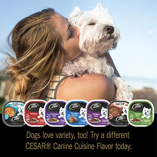 CESAR Soft Wet Dog Food Steak and Chicken Lovers Variety Pack with Real Meat or Real Chicken, (36) 3.5 oz. Easy Peel Trays