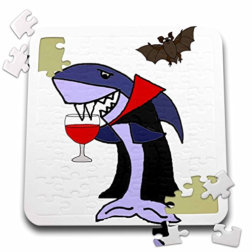 All Smiles Art Funny - Funny Cute Shark Vampire Drinking Goblet of Blood - 10x10 Inch Puzzle (pzl_260833_2)