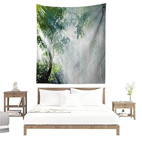 alisoso Wall Tapestries Hippie,Rainforest Decorations,Sunbeam Between Shadows of Trees Idyllic Scenery of Solitude in Jungle Theme,Green W51 x L60 inch Tapestry Wallpaper Home Decor