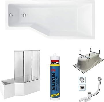 Bañera rectangular Tina 150 x 75 cm/170 x 75 cm lado L/R acrílico con delantal + mampara de ducha + desagüe + silicona: Amazon.es: Bricolaje y herramientas