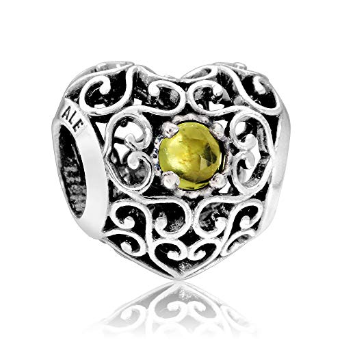 Peridot Heart Color August - Pandora Women's 791784pe August Signature Heart Peridot Charm, Silver