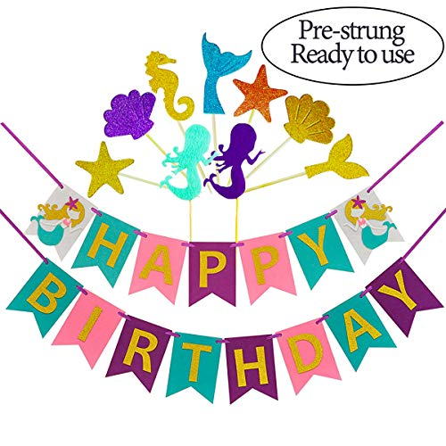 Mermaid Happy Birthday Banner(Assembled) with Glitter Cupcake Toppers(16Pcs),Birthday Colorful Felt Banner,Mermaid Party Decorations Favors,Mermaid Photo Props,