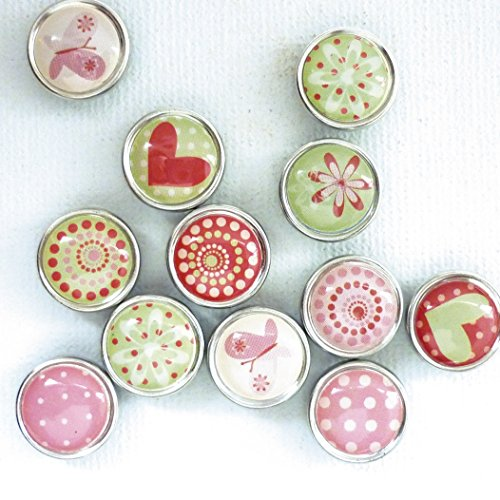 12 mini magnets époxy - Ø17mm - Coeur et motifs - Graines créatives