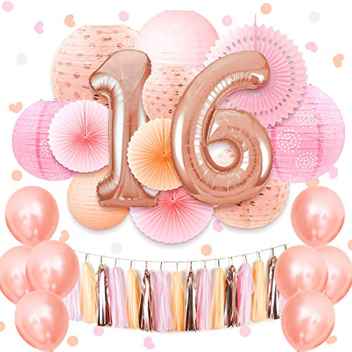 (NICROLANDEE 16th Birthday Party Supplies - Coral Pink Sweet 40inch Rose Gold 16 Number Foil Balloon Hanging Tissue Fans Eyelet Paper Lantern Sprinkle Table Confetti for Girls Sixteen Decorations)