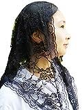 Church Veil Cathdral Veils Lace Mantilla Infinity Veil Y021 (black)